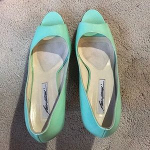 Brian Atwood Mint Green open toe heels